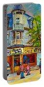 Chez Vito Rue Fairmount Landmark Architecture Beautiful Summer Scene Montreal 375 Carole Spandau Art Portable Battery Charger