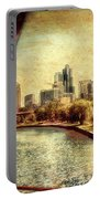 Chicago Approaching The City In June Textured Portable Battery Charger