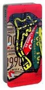 Chicago Blackhawks Hockey Team Vintage Logo Made From Old Recycled Illinois License Plates Red Portable Battery Charger