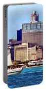 Chicago Il - Schooner Against Chicago Skyline Portable Battery Charger