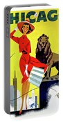 Chicago, Lion, Shopping Woman Portable Battery Charger
