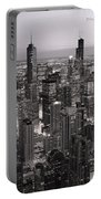 Chicago Loop Sundown B And W Portable Battery Charger by Steve Gadomski