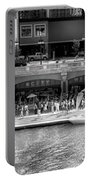 Chicago Parked On The River Walk Panorama 02 Bw Portable Battery Charger