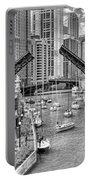 Chicago River Boat Migration In Black And White Portable Battery Charger