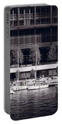 Chicago River Boats Bw Portable Battery Charger