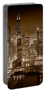 Chicago River City View B And W Portable Battery Charger