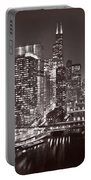 Chicago River Panorama B W Portable Battery Charger