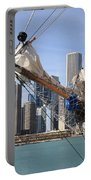 Chicago Skyline And Tall Ship Portable Battery Charger