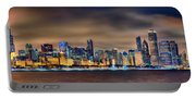 Chicago Skyline At Night Panorama Color 1 To 3 Ratio Portable Battery Charger
