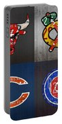 Chicago Sports Fan Recycled Vintage Illinois License Plate Art Bulls Blackhawks Bears And Cubs Portable Battery Charger