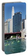 Chicago Watching The Kayaks On The River Portable Battery Charger