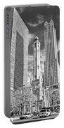 Chicago Water Tower Shopping Black And White Portable Battery Charger