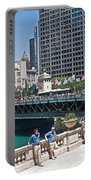 Chicago's Dusable Bridge On N. Michigan Avenue Portable Battery Charger