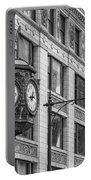 Chicago's Father Time Clock Bw Portable Battery Charger
