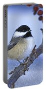 Chickadee With Craquelure Portable Battery Charger