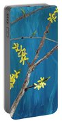 Chickadees On Forsythia Portable Battery Charger