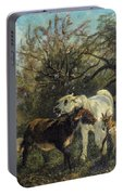 Child And Sheep In The Country Portable Battery Charger