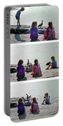 Children At The Pond Triptych Portable Battery Charger