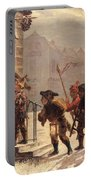 Children Collecting Fruit At The Door   Portable Battery Charger by Leopold Til