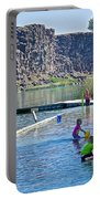 Children Playing In Dierkes Lake In Snake River Above Shoshone Falls Near Twin Falls-idaho  Portable Battery Charger
