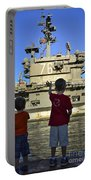 Children Wave As Uss Ronald Reagan Portable Battery Charger by Stocktrek Images