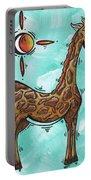 Childrens Nursery Art Original Giraffe Painting Playful By Madart Portable Battery Charger