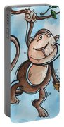 Childrens Whimsical Nursery Art Original Monkey Painting Monkey Buttons By Madart Portable Battery Charger