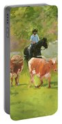 Chisholm Trail Texas Longhorn Cattle Drive Oil Painting By Kmcelwaine Portable Battery Charger