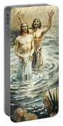 Christ Being Baptised Portable Battery Charger
