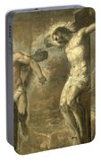 Christ On The Cross And The Good Thief Portable Battery Charger
