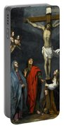 Christ On The Cross With Saint John And Mary Magdalene Portable Battery Charger