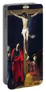 Christ On The Cross With The Virgin Mary Magdalene St John And St Francis Of Paola Portable Battery Charger by Nicolas Tournier