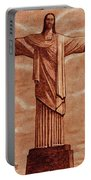 Christ The Redeemer Statue Original Coffee Painting Portable Battery Charger