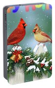 Christmas Birds And Garland Portable Battery Charger by Crista Forest