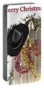Christmas Cowboy Hat On Fence - Merry Christmas  Portable Battery Charger