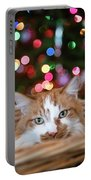 Christmas Kitty In A Basket Portable Battery Charger