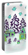 Christmas Picture In Green And Blue Colours Portable Battery Charger