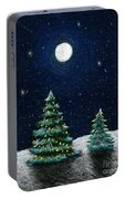Christmas Trees In The Moonlight Portable Battery Charger