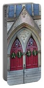 Christmas Wreaths On Red Church Doors Portable Battery Charger