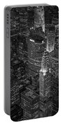 Chrysler Building Aerial View Bw Portable Battery Charger