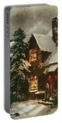 Church And Cottage With Lighted Windows Portable Battery Charger