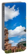 Church And Fountain In Cusco Peru Portable Battery Charger