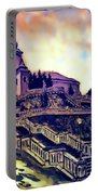 Church Dominant With Decorative Historical Staircase, Graphic Work From Painting. Portable Battery Charger