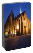 Church Of The Holy Cross By Night In Wroclaw Portable Battery Charger