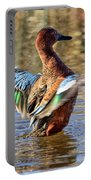 Cinnamon Teal Celebrating Portable Battery Charger