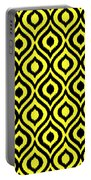 Circle And Oval Ikat In Black N05-p0100 Portable Battery Charger