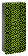 Circle And Oval Ikat In Black N09-p0100 Portable Battery Charger