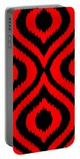Circle And Oval Ikat In Black T02-p0100 Portable Battery Charger
