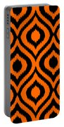 Circle And Oval Ikat In Black T03-p0100 Portable Battery Charger