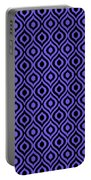 Circle And Oval Ikat In Black T09-p0100 Portable Battery Charger